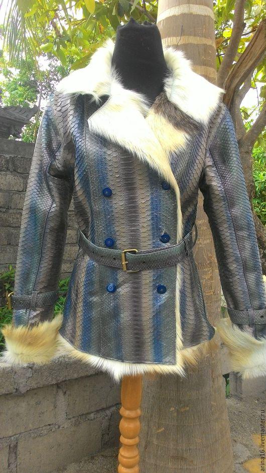 Верхняя одежда ручной работы. Ярмарка Мастеров - ручная работа. Купить Дубленка из кожи питона.. Handmade. Разноцветный, куртка из питона
