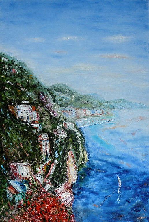Пейзаж ручной работы. Ярмарка Мастеров - ручная работа. Купить Франция (по мотивам). Handmade. Море, берег, Франция, яхта