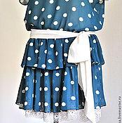 Одежда ручной работы. Ярмарка Мастеров - ручная работа крепдешиновое платье в горох. Handmade.