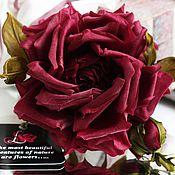 Брошь-булавка ручной работы. Ярмарка Мастеров - ручная работа Цветы из ткани брошь Бордовая Роза. Handmade.