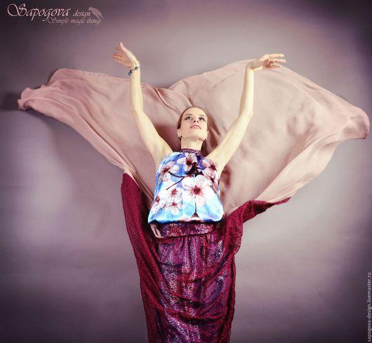 Алина Сапогова. Вечерний комплект :юбка со шлейфом и блузка  `Fleur valse `.Вечернее платье бохо шик, вечернее богемное платье, платье в винтажном стиле.  Фотограф Александр Сапогов.
