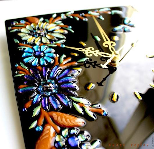 Часы для дома ручной работы. Ярмарка Мастеров - ручная работа. Купить часы из стекла, фьюзинг РомантИк. Handmade. Черный