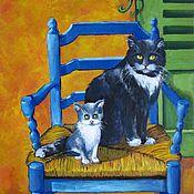 """Картины и панно ручной работы. Ярмарка Мастеров - ручная работа """"Коты созерцатели"""", холст, масло.. Handmade."""