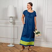 Одежда handmade. Livemaster - original item Author`s Linen dress in blue floor. Handmade.